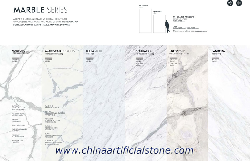 Large Format Marble Ceramic Slabs Tiles
