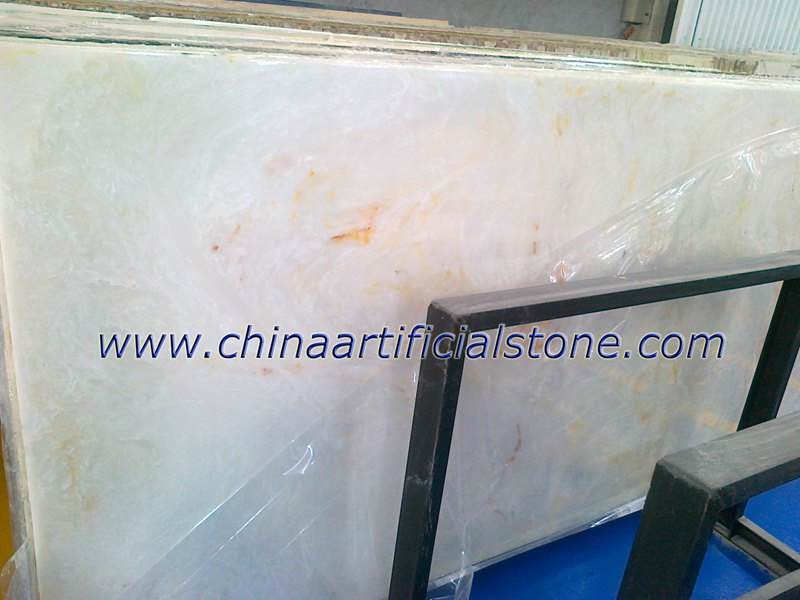 White with Gold Artificial Onyx Faux Slab panels
