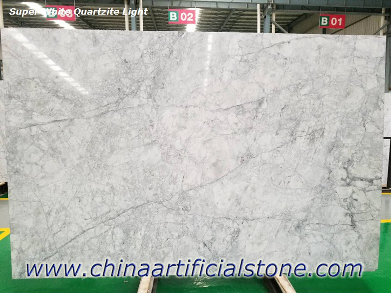 Super White Quartzite Light Grey Slabs