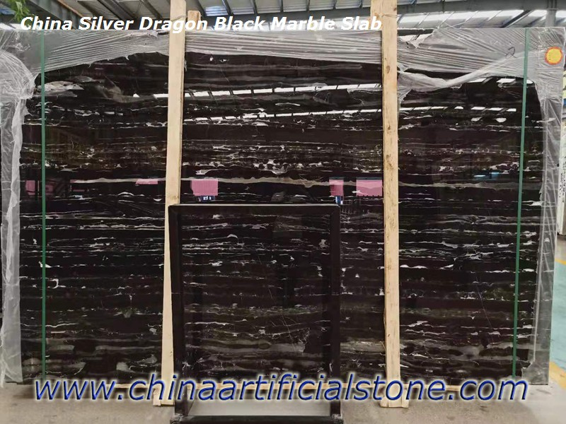 Silver Dragon Black with White Marble Slabs